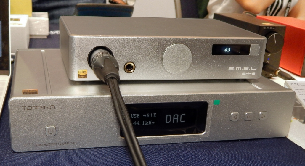 Topping D70 DSD512/32 Bit/768 kHz DAC/Preamp, S.M.S.L. SH-8 Balanced Headphone Amplifier CanJam SoCal 2019